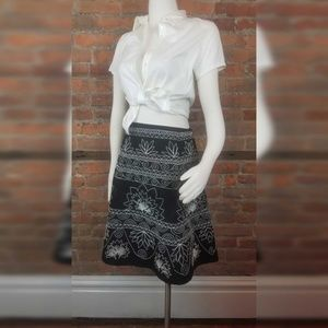 Talbots Women's Skirt Black w/White Embroidery